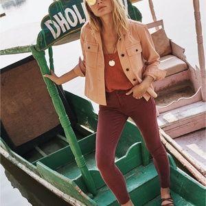 """MADEWELL 9"""" High Rise Skinny Jeans Maroon {O38}"""